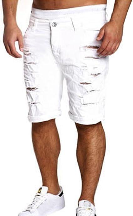 LuckyGirls Pantalones Vaqueros Hombres Cortos Rotos Rectos ...
