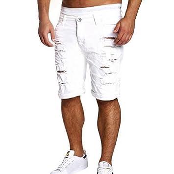 0fc3d203e9b6 LuckyGirls Pantalones Vaqueros Hombres Cortos Rotos Rectos Originales  Chandal Slim Fit Aptitud Suelto Pantalones Casuales Elasticos Agujero  Pantalón ...