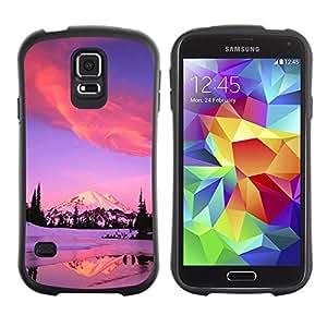"""Pulsar iFace Series Tpu silicona Carcasa Funda Case para Samsung Galaxy S5 , Invierno montañas de Alaska Lago Rosa Púrpura"""""""