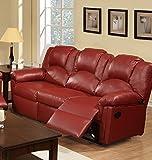 Poundex F6678 Bobkona Motion Sofa in Burgundy Bonded Leather