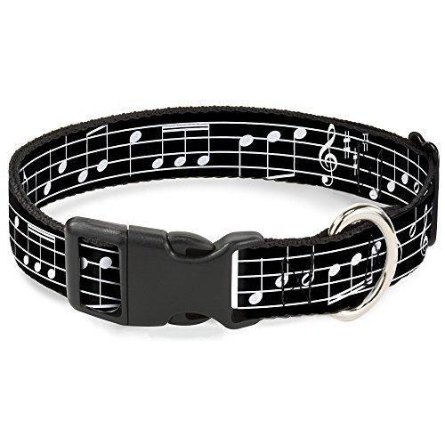 Buckle Down Plastic Clip Collar - Music Notes Black/White - 1