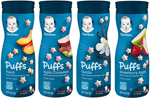 Gerber Graduates Puffs Cereal Snack, Variety Pack 1.48 Oz, 4 Pack (Peach, Apple Cinnamon, Vanilla, Strawberry - Apple Vitamins Strawberry