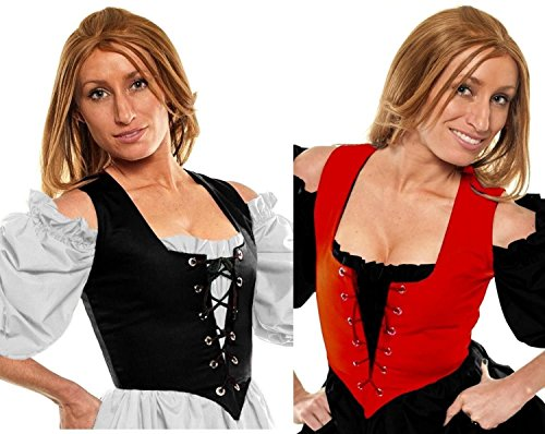 [Renaissance Halloween Costume Caribbean Pirate Peasant Wench Corset Red/Black (1X:Bust: 48