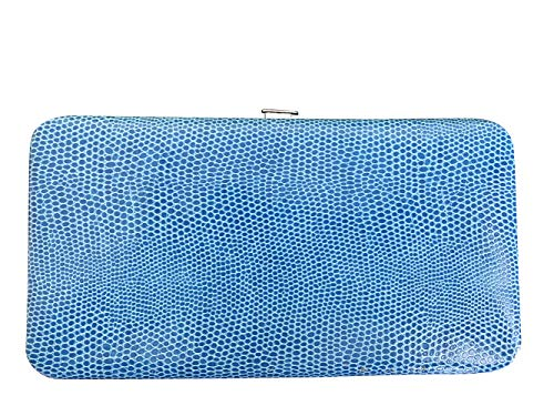 Chicastic Royal Blue Snakeskin Flat Hard Clutch Wallet