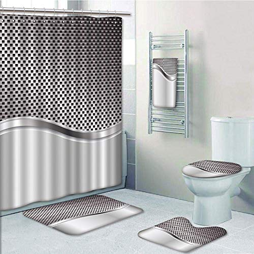 Bathroom 5 Piece Set Shower Curtain 3D Print Customized,Silver,Technology Structure with Wavy Stripe and Checkered Motif Industrial Grid Print Decorative,Charcoal Grey,Graph Customization - Graph Grid Fabric