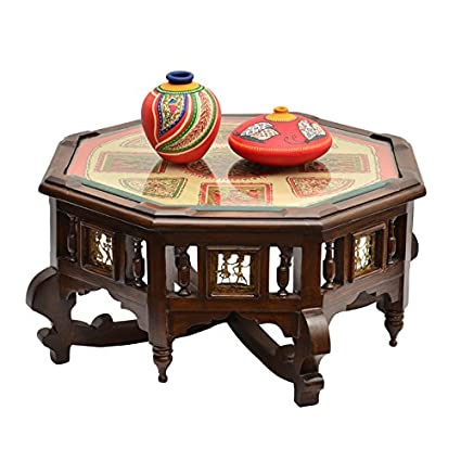 ExclusiveLane Octagonal Teak Wood Center With Dhokra And Warli Work Bedside  Coffee Table Wooden Furniture (
