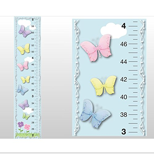Growth Chart Butterfly Garden Clouds Sky Flowers Butterflies Wall Decals Vinyl Sticker Kid Height Measurement Children Nursery Baby Room Decor Girl Bedroom Decorations Child Measure Growing Babies Art by Bugs-n-Blooms