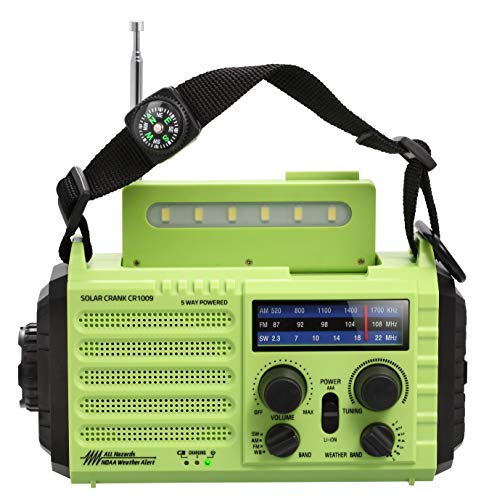 Emergency NOAA Weather Alert Radio & AM/FM/SW Broadcast Kit for Travelling, Dynamo Hand Crank/Solar Panel/Built-in Battery/AC Powered with Compass, SOS Alarm, LED Flashlight, Reading Lamp, USB Charger