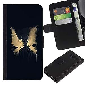 KLONGSHOP / Tirón de la caja Cartera de cuero con ranuras para tarjetas - Wings Paint Splash Modern Art Angel Devil Death - Samsung Galaxy S3 III I9300