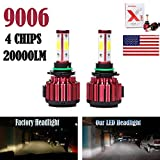 2Pcs 9006 LED Headlight Bulbs Conversion Kit HB4/9012 Car Headlamp 20000LM 6000K Cool White Hi/Lo Beam DRL Fog Light Replace for Halogen HID - Plug and Play