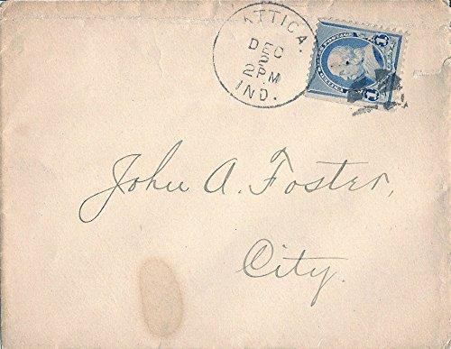 (1890 Postal Cover with 1 Cent Franklin Postage Stamp Scott #219 Attica, Ind. Cancel Mark Dec.2,??)