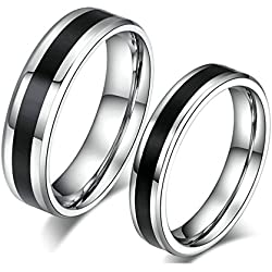 Silver Black Rings with Engraved Rings for Him And Her Promise Ring Band