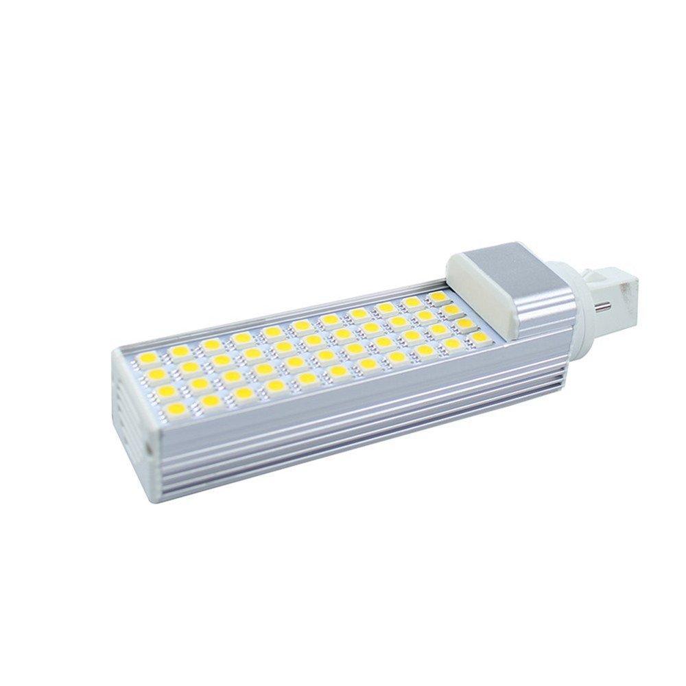 Bombilla LED G24 2 Pins Lá mpara Má iz LED, 50 LED SMD2835 ,180 grados, 220V, 10W, Blanco frí o [Clase de eficiencia energé tica A] Blanco frío [Clase de eficiencia energética A] Aquiver