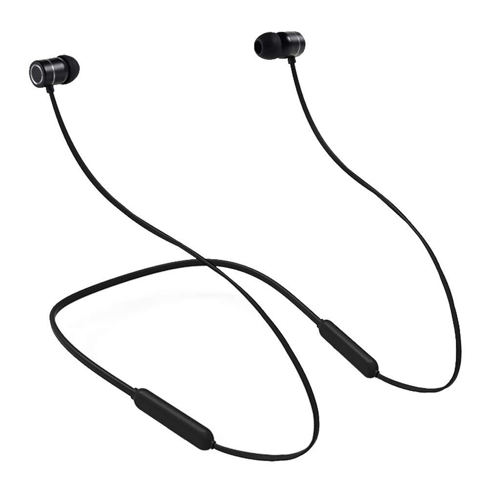 Mrrong Bluetoothヘッドセット、ワイヤレススポーツヘッドセット、CSRチップ、CVCインテリジェントノイズリダクション、デュアルステレオ、再生時間10時間、セキュリティフィットデザイン、IPX5防水ヘッドホン (ブラック) B07HP6BJM4