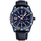 NAVIFORCE Mens Blue Leather Watch Date Casual Dress Analog Quartz Wrist Watches Waterproof