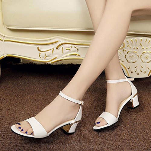 erthome Summer Women Shoes Pointed Toe Pumps Shoes High Heels Boat Shoes Wedding Buckle Shoes White mkIJ64