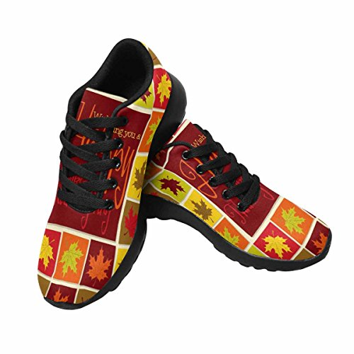 InterestPrint Womens Jogging Running Sneaker Lightweight Go Easy Walking Comfort Sports Athletic Shoes Maple Leaf Mosaic Thanksgiving Card In Format Multi 1 qNS0VLX4wT