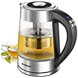 CHULUX Electric Glass Kettle,Variable Temperature Hot Water Boiler with Tea Filter,7 Colors LED Indicator Fast Heating…