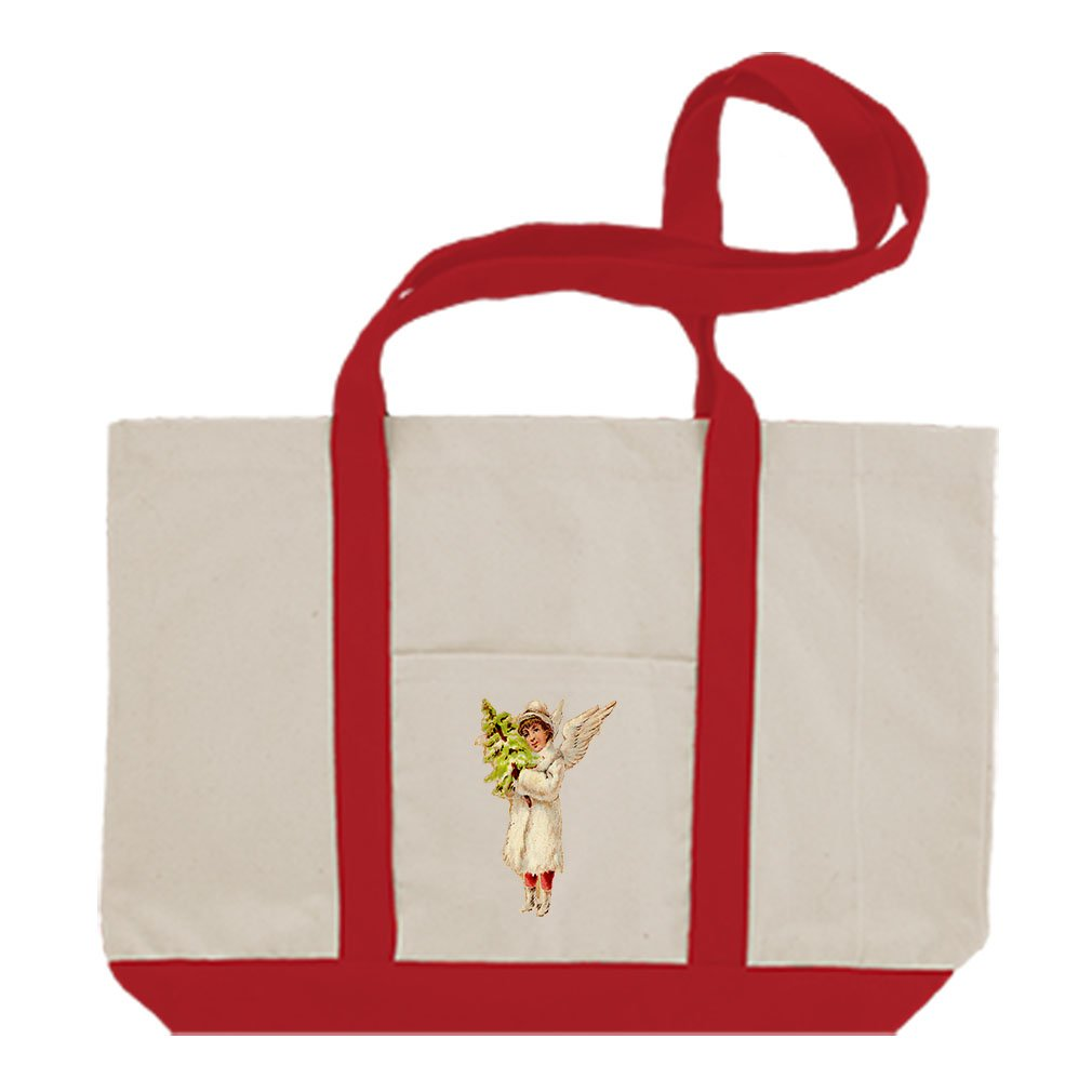 Canvas Boat Tote Bag Angel White Coat Holds Christmas Tree #3 By Style In Print | Red