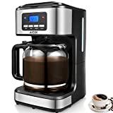 : Programmable Coffee Maker, Aicok Coffee Maker 12 Cups, Drip Coffee Maker With Glass Coffee Pot, Programmable Clock/Timer, Permanent Reusable Filter, Black and Silver.