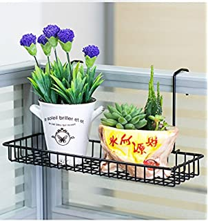 Chris Wang Iron Wire Outdoor Rectangle Plant Caddy, Patio Fence Deck  Porches Railing Shelf