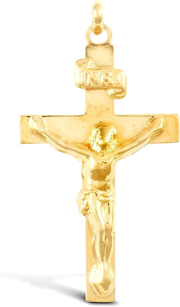 Jewelco London Solid 9ct Yellow Gold Flat INRI Crucifix Cross Pendant