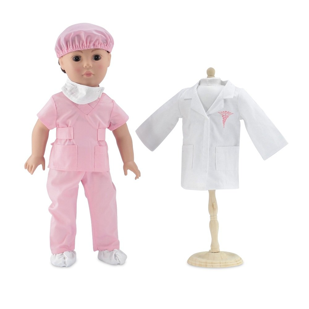 18 Inch Doll Clothes   Complete 6-piece Doctor or Nurse Hospital Pink Scrubs Outfit, Including White Doctor's Coat, Scrubs with Matching Surgical Hat, and Mask and Booties   Fits American Girl Dolls