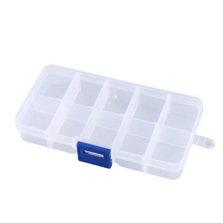 MEXCO 10 Compartimentos Ranuras Celdas Caja de herramientas port/átil Piezas electr/ónicas Tornillo Perlas Anillo Joyer/ía Caja de almacenamiento de pl/ástico Contenedor de contenedores