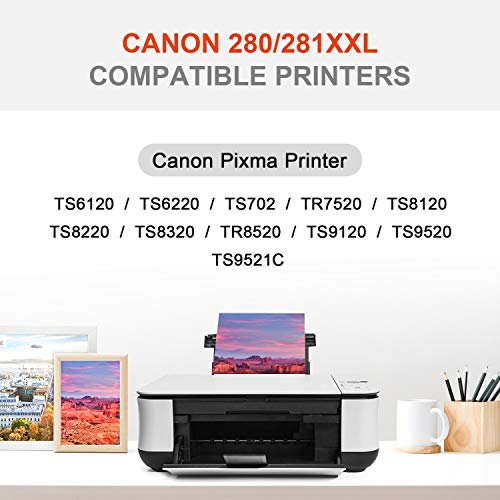 FASTINK Compatible Ink Cartridges Replacement for Canon PGI-280 CLI-281 PGI-280XXL CLI-281XXL PGI 280 XXL CLI 281 XXL, for Canon Pixma TR8520 TS9120 TS8320 TS6220 TS6120 TS8220 TS8120 Printer, 5-Pack