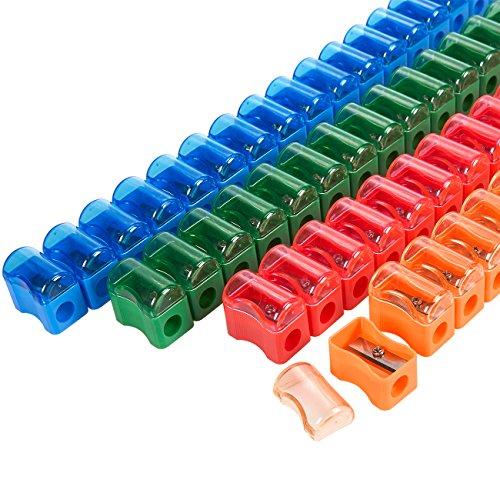 Juvale 72-Count Plastic Pencil Sharpener - Manual Sharpener in Assorted Colors, Mini Handheld Sharpener with Lid, 1 x 0.9 x 0.5 Inches ()