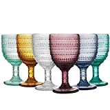 MESHA Beaded Goblet Colored Water Glasses 11 oz Dewdrop Heavy Base Glasses Set, 325 ml Wine Glasses, Set of 6 For Sale