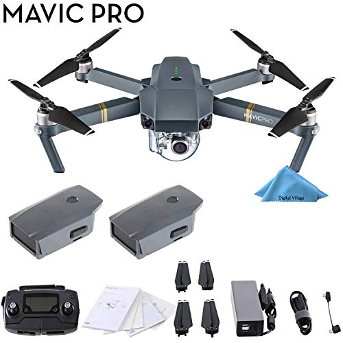 DJI Mavic Pro 4K Quadcopter with Remote Controller, 2 Batteries, with 1-Year Warranty - Gray from DJI