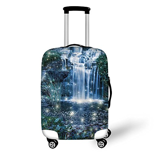 Travel Luggage Cover Suitcase Protector,Magical,Fairy and Fantastic Cascade at the Night on the Water Fresh Landscape Image Print,Grey Green,for Travel
