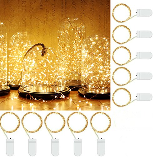 MZD8391 10 Pack Waterproof Fairy String Lights, MZD8391 20 LED 6.6 FT Copper Wire Lights for Bedroom Wedding - (Battery Operated)