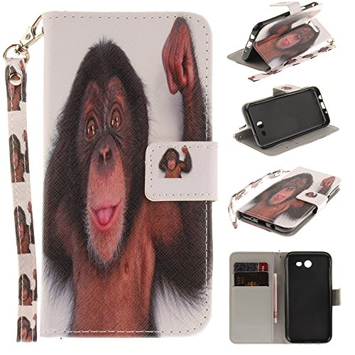 XYX Wallet Phone Case for Galaxy J3 2017,[Monkey][Painted Lanyard] PU Leather Wallet Case Kickstand Cover with Built-in Slots for Samsung Galaxy J3 Emerge/J3 2017/J3 - Monkey Painted