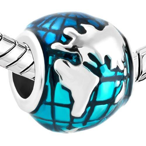 Q&Charms Blue Earth Travel Charm Sale Cheap Bead Fit Pandora Charms Bracelet