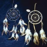 Dreamcatcher Double Ring with Beads & Feathers 19.5-inch (1-pc in Random Color)