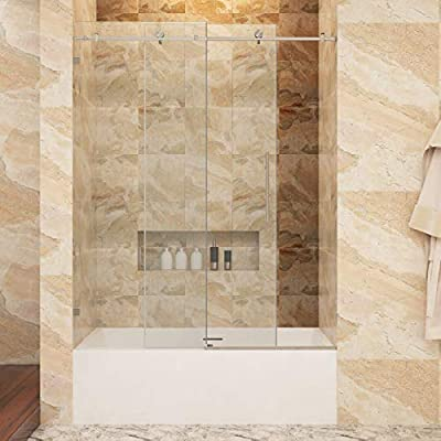"SUNNY SHOWER BP05P2 56-60 in. Width, Fully Frameless Sliding Bathtub Shower Doors, 3/8"" Glass, Polished Chrome Stainless Steel"