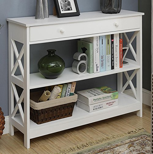 Convenience Concepts Oxford 1-Drawer Console Table, White (Console Furniture Table)