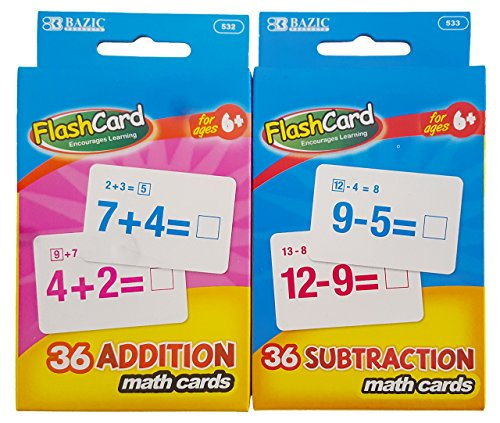 Flash Cards Addition And Subtraction. Plus Free Bonus Reward Stickers 4 ct.