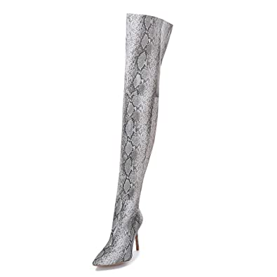 e3005336bd9 Limsea Women Long Boots Fashion Snakeskin Pattern High Heels Over The Knee  5.5 Grey