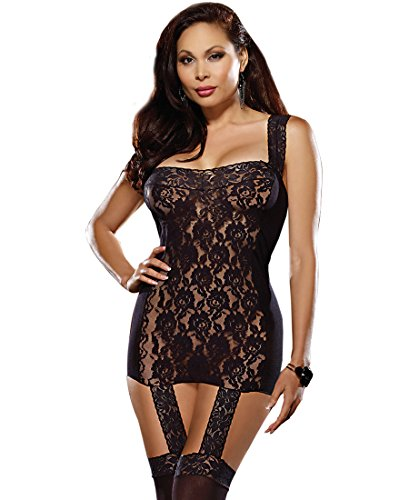 Dreamgirl 0144X Women's Plus Size Mesh And Lace Gartered Dress With Stockings - Plus Size - Black (Gartered Stockings)