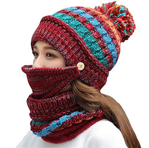 Écharpe Et Velours Tricotée Pour De En 5 Masque Couleur Doublé Chaud Femme Acmede L'hiver Bonnet xvzPgBqT