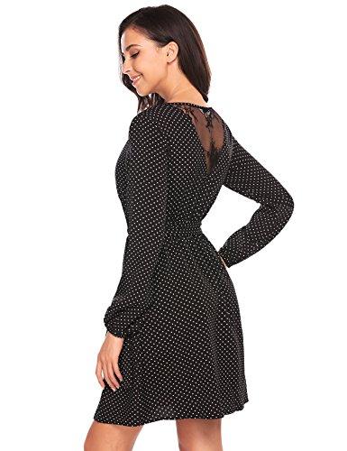 V Belt Women's line Dot with Sleeve Dress Neck Polka black Beyove Style1 A Long Casual Cross OtFAq