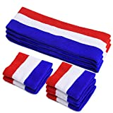 Sports Headband & Wristbands, 9 Pcs Striped Sweatbands Set, Moisture Wicking Athletic Cotton Terry Cloth Sweatband for Tennis, Basketball, Yoga, Running, Gym Exercise(3 Headband and 6 Wristbands)
