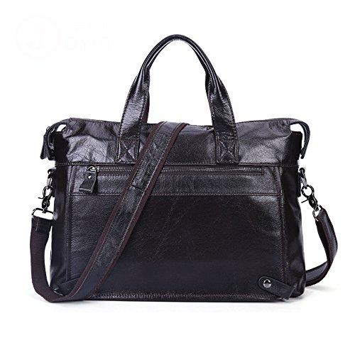 Color : Black Mens Crossbody Retro Leather Tote One Shoulder Briefcase Messenger Bag