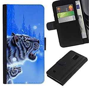 KingStore / Leather Etui en cuir / Samsung Galaxy Note 4 IV / Blue Tiger invierno impresiones Cub Nieve Naturaleza