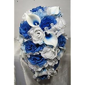 Malibu Blue White Rose Calla Lily Cascading Bridal Wedding Bouquet & Boutonniere 34