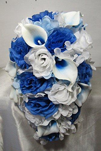 Malibu Blue White Rose Calla Lily Cascading Bridal Wedding Bouquet & Boutonniere