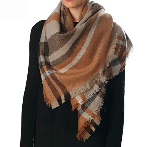 Women's Warm Oversized Checked Tartan Blanket Scarf Wrap Shawl With Brooch (One Size, Check-Camel)